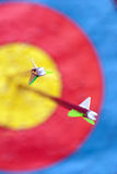 Two arrows in the target Royalty Free Stock Images