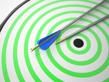 Two Arrows on Target Royalty Free Stock Photos