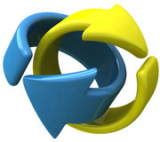 Two arrows together 3d Royalty Free Stock Images