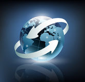 Two arrows wrapped around the earth Royalty Free Stock Images