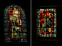 Two Art Deco style stained glass, Montmarte, Paris Stock Photography