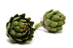 Two artichokes Stock Images
