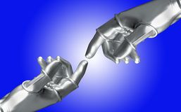 Two artificial hands royalty free illustration