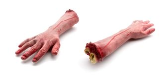 Two artificial human bloody arms Royalty Free Stock Photos