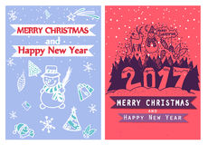 Two artistic creative Merry Christmas and New Year cards. Hand Drawn. Design for poster, card, invitation, placard, brochure, flye Royalty Free Stock Image