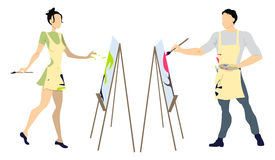 Two artists painting. Royalty Free Stock Photos