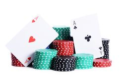 Two ases and casino chips Stock Images