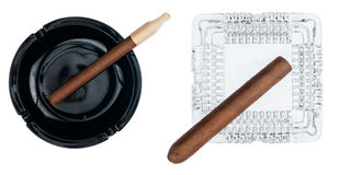 Two ashtray with cigars Royalty Free Stock Image