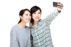 Two asia woman selfie Royalty Free Stock Photography