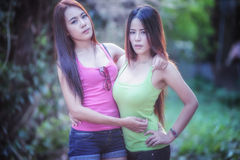Two Asia young women Stock Images
