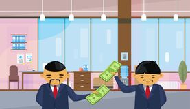 Two Asian Business Men Holding Dollar Banknotes Standing Over Office Background Salary Or Financial Success Profit. Concept Flat Vector Illustration Stock Photography