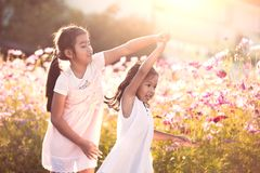 Two asian child girls having fun to play and dance together. In the cosmos flower field in summer time with sunlight royalty free stock images