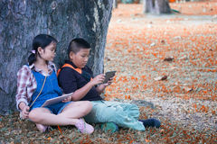 Two Asian children sitting in the garden summer time and play tablet. stock image