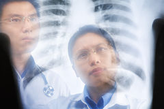 Two Asian doctor examining xray result Royalty Free Stock Photo