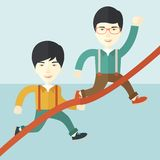 Two asian guy running to finish line Royalty Free Stock Photography