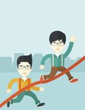 Two asian guy running to finish line Royalty Free Stock Images