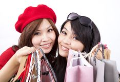 Two asian happy shopping girl Stock Images