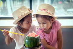 Two asian little girls are drinking watermelon blended juice Stock Image