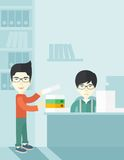 Two asian office clerk inside the office Stock Photography