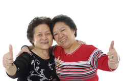 Two Asian senior lady Royalty Free Stock Photos