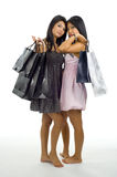 Two asian with shopping bags Stock Photo