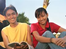 Two asian student outdoor Royalty Free Stock Images