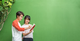 Two of asian teenage students studying together at green wall in. Library,Education concept,Leave space for display or montage of your text,Advertise banner Stock Images