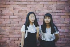 Two asian teenager standing in front of red brick wall with surprising face stock photos