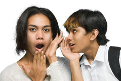 Two Asian teenagers gossiping Royalty Free Stock Images