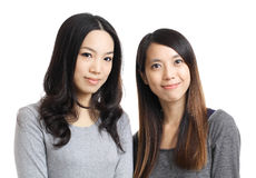 Two asian woman friend smile Royalty Free Stock Photo