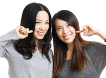 Two asian woman friend smile Stock Photo