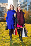Two Asian woman holding shopping bags in hand Stock Images