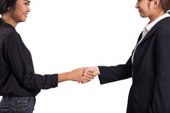 Two asian women shake hand for alliance on white background Royalty Free Stock Photos