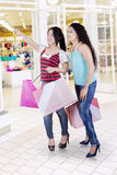 Two asian women shopping in mall Royalty Free Stock Photos