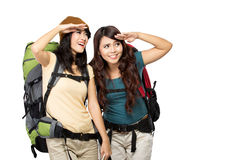 Two asian young girls on trip Stock Images