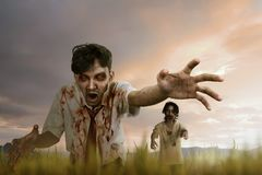 Two asian zombie man with mad face and dirty hand standing Stock Photos