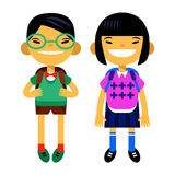 Two asians students, schoolchild, cute boy and girl in the form of a white background. Vector illustration flat design. Two asians students, schoolchild, cute Royalty Free Stock Photos