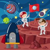 Two astronauts and rocket on the planet. Illustration Stock Photography