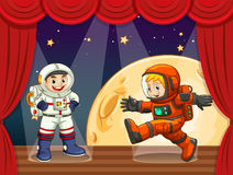 Two astronauts walking on stage. Illustration Stock Photo