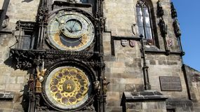 Two  astronomical dials of  Prague astronomical clock or Prague orloj close-up Royalty Free Stock Images