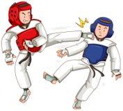 Two athletes doing taekwondo. Illustration Stock Photography