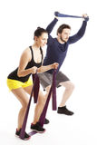 Workout with theraband Royalty Free Stock Image