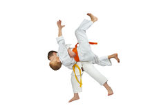 Two athletes in judogi are doing throws judo Stock Photo