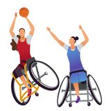 Athletes with physical disabilities. Woman Wheelchair Basketball. Two Athletes Paralympics woman with physical disabilities playing Woman Wheelchair Basketball vector illustration