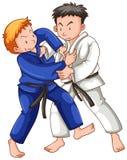 Two athletes playing judo. Illustration Stock Photography