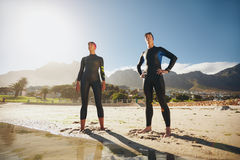 Two athletes ready for triathlon Royalty Free Stock Image
