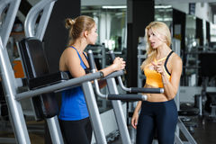 Two athletic blond women talking in the gym. Girl communicates with trainer. Two athletic blond women talking in the gym. Girl communicates with the trainer Royalty Free Stock Photo