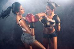 Two athletic girls sparring at gym Royalty Free Stock Photo