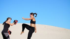 Two athletic, young women in black fitness suits are engaged in a pair, fulfill kicks, train to fight, on deserted beach. Two athletic, young women in black stock video footage