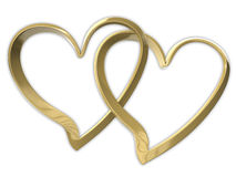 Two attached golden hearts. Two golden hearts attached together. Isolated on white Royalty Free Stock Images
